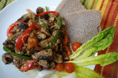 Beef Tibs with Injera Bread