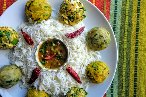 Bangladeshi Bhorta (Assorted Vegetable Mash) with Fluffy Basmati Rice