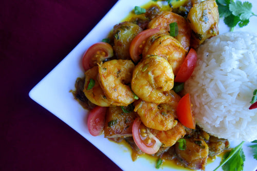 Chingri Torkari (Shrimp & Potato Curry) with Fluffy Basmati Rice