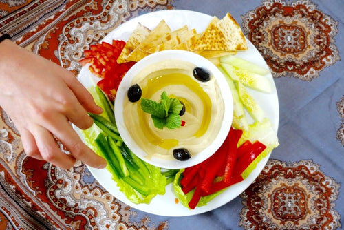 Homemade Hummus Platter with Pita & Assorted Veggies