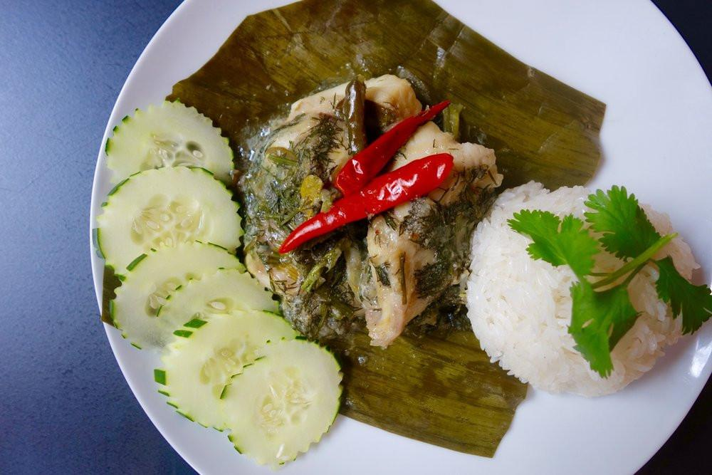 Mok Pa (Salmon Steamed in Banana Leaves) with Sticky Rice