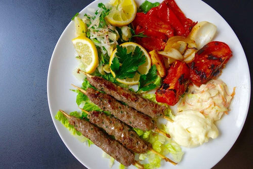 Beef Kebabs & Red Pepper Flatbread