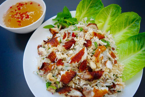 Nam Pa (Tilapia & Rice Noodles Lettuce Wraps w/ Sweet & Spicy Sauce)
