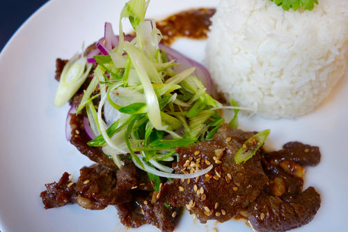 Bistek (Marinated Steak) with Jasmine Rice