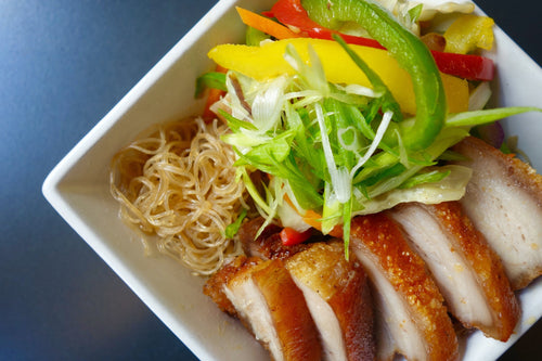 Pork Belly Pancit (Crispy Pork Belly over Savory Rice Noodles)