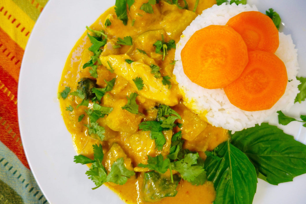 Lao Cuisine Chicken & Pumpkin Curry (Gang Gai Sia Mak Eu) with Jasmine Rice - Foodhini