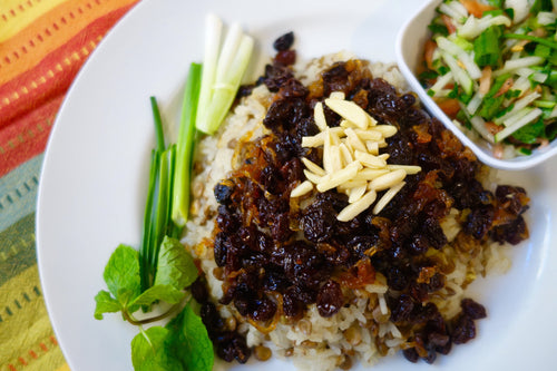 Iranian Cuisine Adas Polo (Savory Sweet Basmati Rice with Green Lentils) - Foodhini