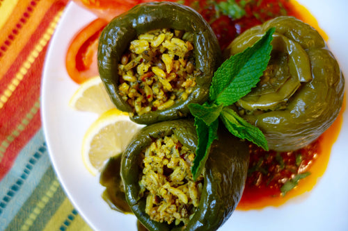 Dolmeh Felfel (Stuffed Bell Peppers with Rice, Veggies, & Herbs)