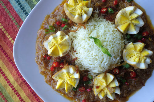 Egg Korma (Creamy Egg Stew) with Fluffy Basmati Rice