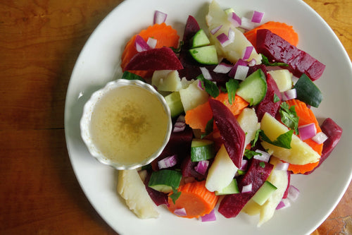 Eritrean Beets & Potato Salad with Homemade Lemon & Mayo Dressing