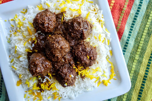 Iranian Cuisine Fesenjan (Pomegranate Walnut Meatball Stew) with Basmati Rice - Foodhini