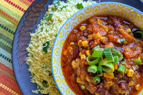Ivorian Cuisine Haricot Rouge au Couscous en Perles (Seasoned Kidney Beans & Corn with Couscous) - Foodhini