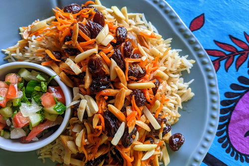 Afghan Cuisine Qabuli (Rice Pilaf with Caramelized Raisins & Shredded Carrots) - Foodhini