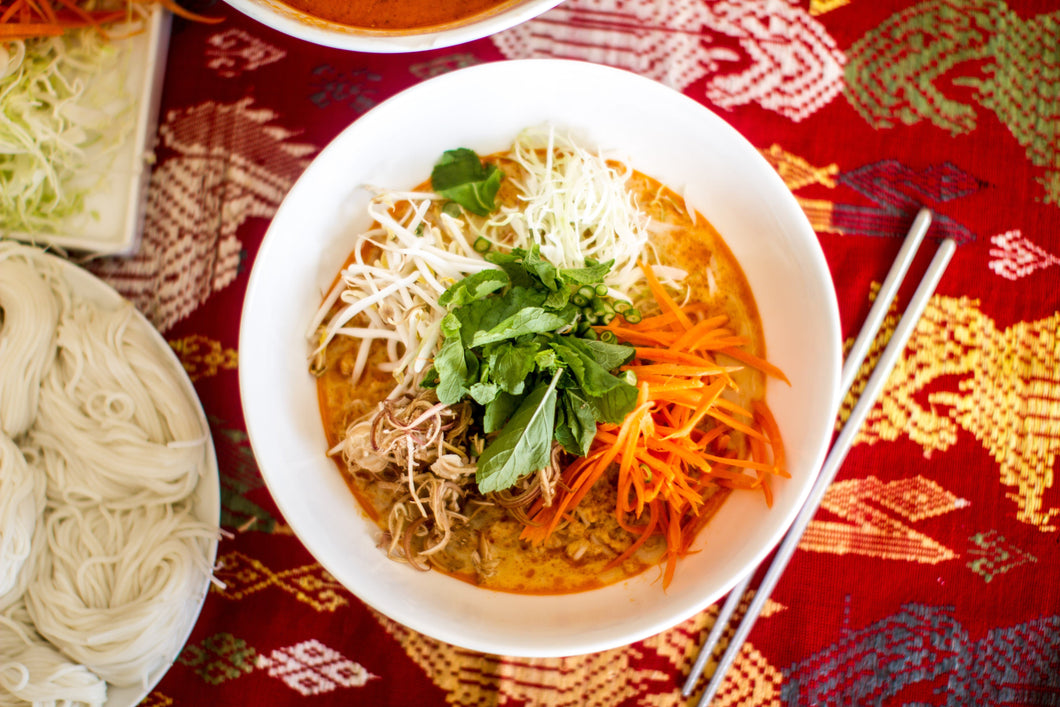 Khao Poon Nam Pah (Whitefish & Turkey Coconut Noodle Soup)