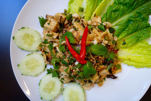 Larb Het (Spicy Mushroom Salad) with Sticky Rice