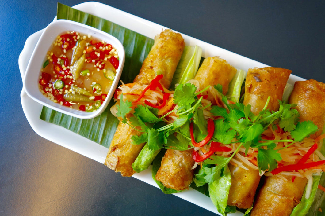 Vegan Lumpia (Shiitake Mushroom Crispy Spring Rolls) with Sweet & Sour Sauce