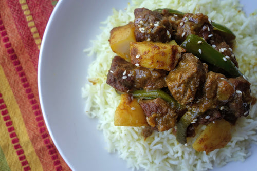 Bhuna Gorur Mangsho (Bangladeshi Tender Steak Curry) with Fluffy Basmati Rice