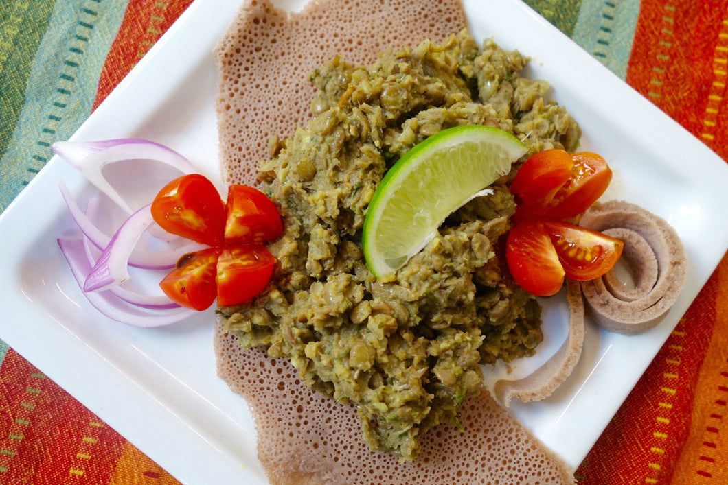 Misir Azifa (Green Lentil Salad) with Injera Bread