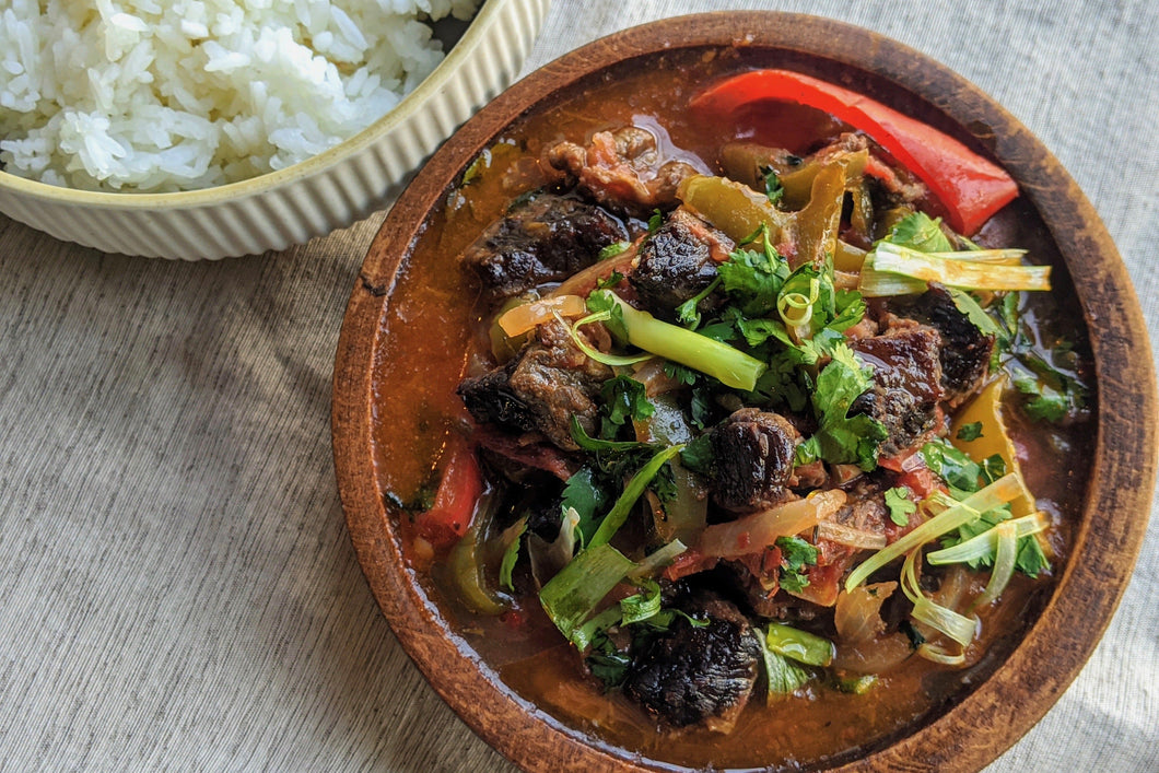 Ivorian Cuisine Sauce Piment Basquaise (Braised Espelette Pepper Steak) with Vermicelli Jasmine Rice - Foodhini