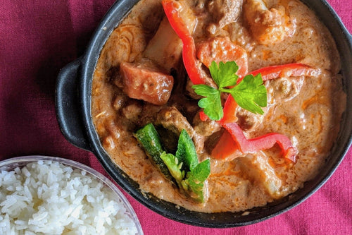 Ivorian Cuisine Sauce d'Arachide (Peanut Sauce Beef & Vegetables) with Jasmine Rice - Foodhini