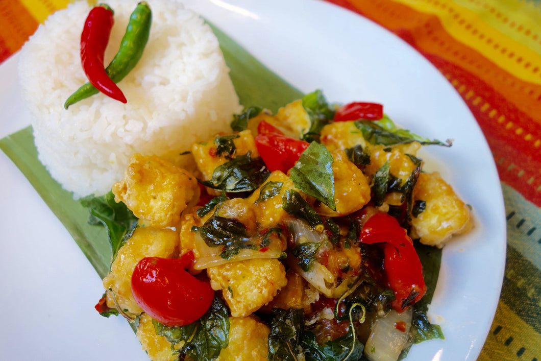 Lao Cuisine Tangy & Spicy Crispy Tofu with Jasmine Rice - Foodhini