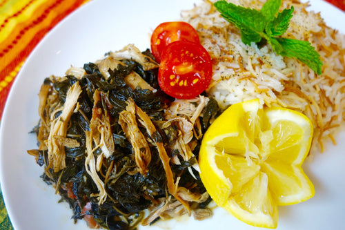 Syrian Mulukhiyah (Shredded Chicken & Tender Bitter Greens) with Rice Pilaf
