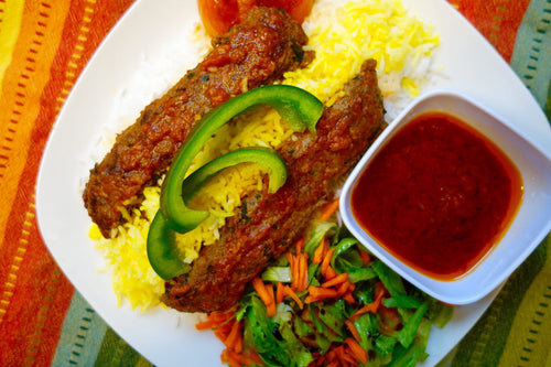 Tava Kebab (Tender Beef over Basmati Rice)