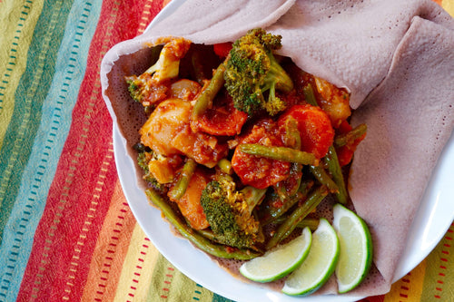 Eritrean & Ethiopian Cuisine Vegan Specitini (Eritrean Vegetable Medley) with Injera Bread - Foodhini