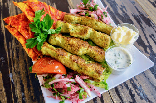 Syrian Chicken Kebabs with Red Pepper Flatbread