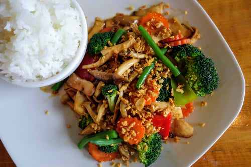 Koa Pak (Sweet Vegetable Stir Fry with Jasmine Rice)