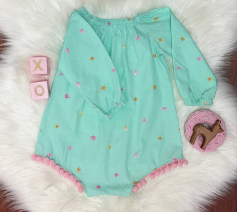 Long Sleeve Seaside Romper - Mint floral