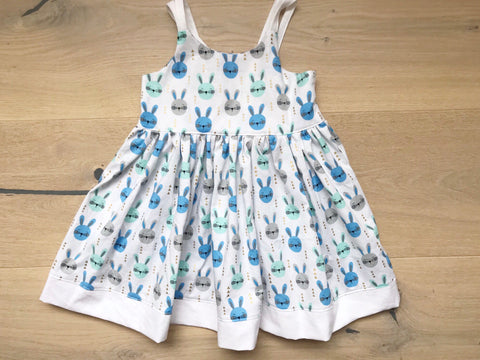 Bella dress - blue bunnies