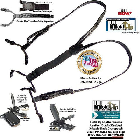 Brack leather braided Holdup leather suspenders have dual clip Double-Up styling and patented no-slip black clips