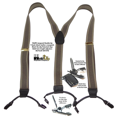 "d 1 1/2"" Jacquard Double-Ups men's suspender features a TAUPE brown and tan color mix and features two newly re-designed No-slip suspender clips on each black leather tapered clip tab holder"