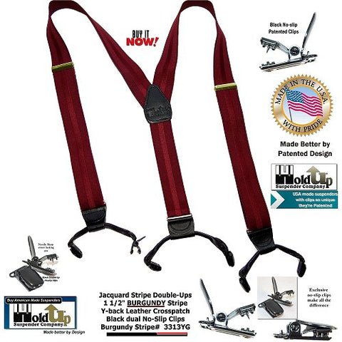 Beautiful Burgundy stripe jacquard weave USA made Holdup Suspenders in Double-Up style with black Patented No-slip clips
