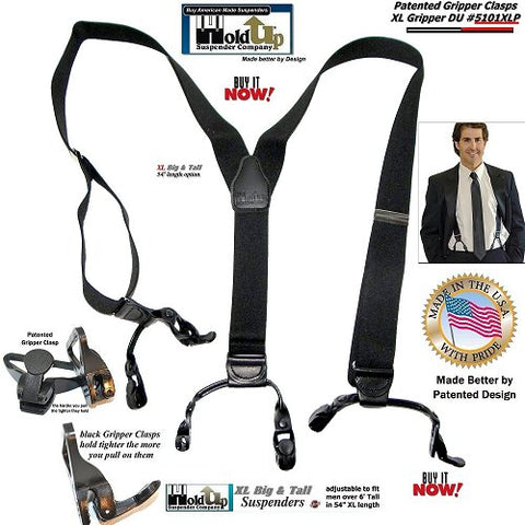 Holdup Brand Black Pack color Extra Long Double-Up Style Holdup Suspenders with Patented black Gripper clasps