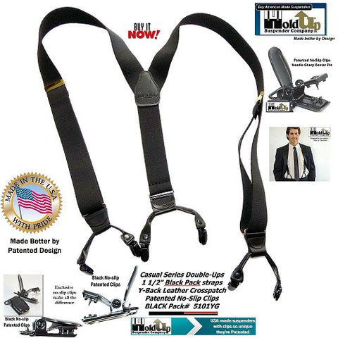Casual Series Double-Up Y-back Holdup suspenders in black pack color