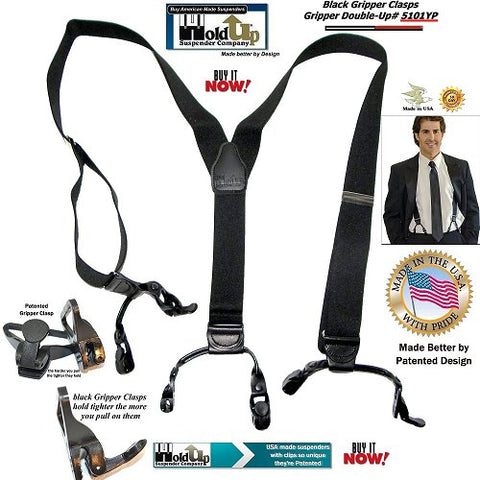 USA made Double-Up Casual Series Holdup Gripper clasp Suspenders in Black Pack color