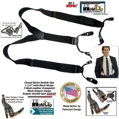 Holdup Brand Black Pack color Double-Up Style Dressy Suspenders with Patented black Gripper clasps