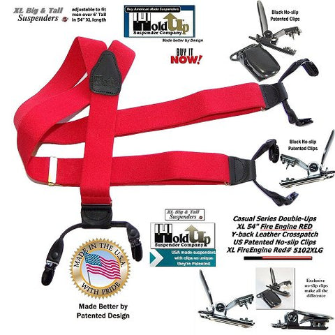 Holdup Casual Series Red Double-Up Suspenders for you or a friend with black no-slip® patented clips for Big & Tall men and they're made in the USA