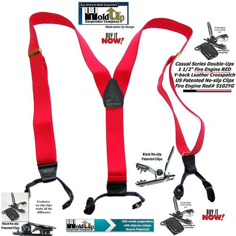 USA made Bright Fire Engine Red dual clip Double-UP style Holdup Suspenders for businessmen wanting to get noticed in a crowd.