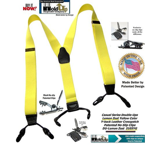American made Light Lemon Zest Yellow dressy dual clip Holdup suspenders in Trademarked Double-Up style