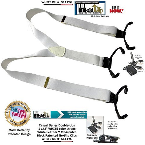 Holdup dual brand clip Double-Up style clip-on white clip-on men's Suspenders are made in the USA