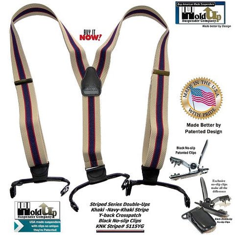 Classic Navy Blue and Khaki Tan stripe Holdup suspenders in Double-Up style with black leather trim and patented black no-slip center pin type clips.