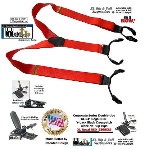 Extra Long Regal Red dual clip Double-Up style Holdup XL suspenders are the perfect red dressy office  party suspender