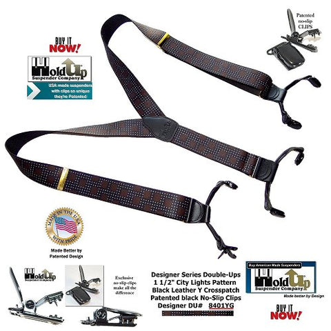Designer SeriesDual clip Double-Up in City Lights pattern is a beautiful clip-on USA made Holdup suspender with dual clips that wear like button on suspenders braces