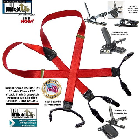 Cherry Red satin finished Dual clip Double-Up Y-back suspenders are made in the USA and have patented black no-slip clips