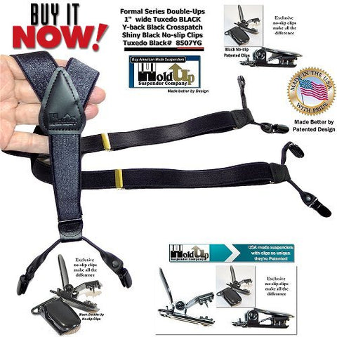 Formal Series USA made Tuxedo black dressy Y-back men's suspenders with patented no-slip clips