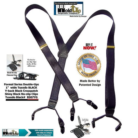 American made Formal Series Tuxedo black dressy Y-back men's suspenders with patented no-slip clips