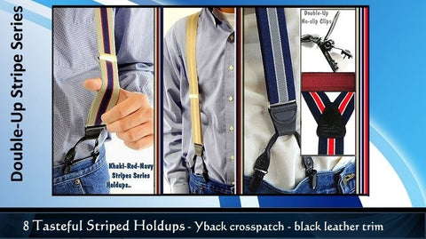 USA made Striped Double-Up style Holdup Suspenders with Patented no-slip black clips